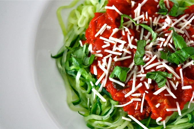 Marinara with Italian turkey sausage and zoodles