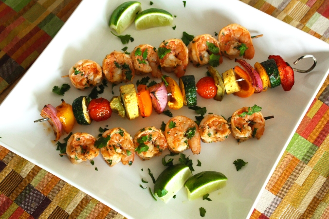 Chili lime shrimp and veggie kebabs